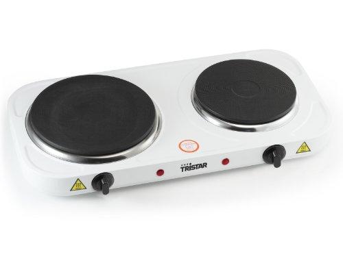Tristar KP-6245 Doppel-Kochplatte, 15,5 und 18,5 cm ø, einzeln regelbare 5 Heizstufen, 2500 Watt Leistung, Weiß