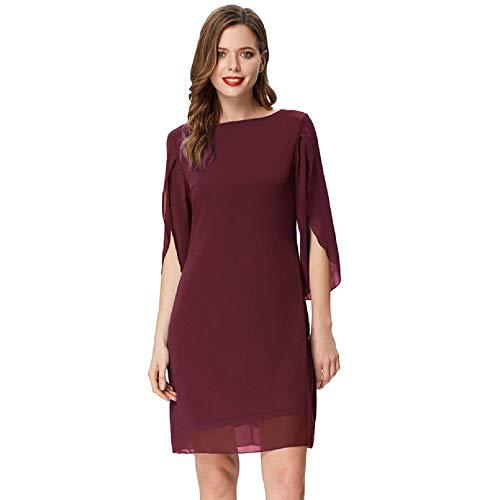 Damen Sommer Chiffon Kleid 3/4 Ärmel Loose Fit Elegant Midi Abendkleid XL Wein CL11125-1