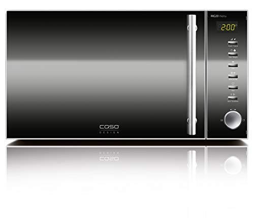 Caso   MG20 menu 2-in-1 Mikrowelle mit Grill   800 W, Grill 1000W, 20 L, 2 Kombiprogramme + 14 Koch-Programme, Design Edelstahl und verspiegelt