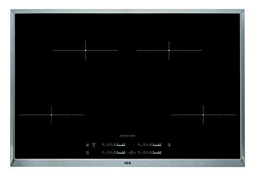 AEG HKA8540IND Autarkes Kochfeld / Induktion / Hob²Hood / Slider-Bedienung / 80 cm / Herdplatte mit Edelstahlrahmen, 4 Kochzonen, Powerfunktion & Kindersicherung