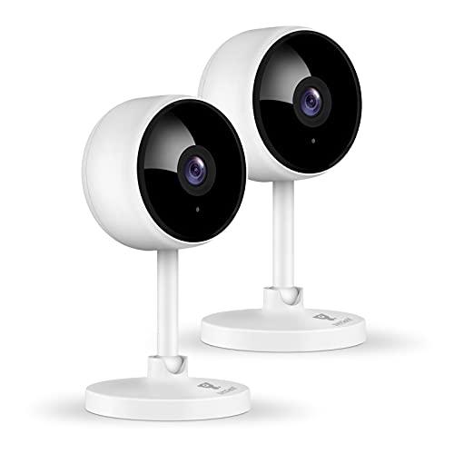 1080P Überwachungskamera, Littlelf 2 Stück Hunde Kamera, WLAN Kamera mit Bewegungserkennung, Nachtsicht, 2-Wege Audio, Babyphone unterstützt Mobile App Kontrolle und Fernalarm , Kompatibel mit Alexa