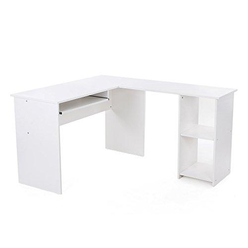 VASAGLE Eckschreibtisch, großer Computertisch mit 2 Ablagen und Tastaturauszug, Schreibtisch, 140 x 120 cm, stabiler PC-Tisch, Winkelkombination, Bürotisch, erleichterte Montage, weiß, LCD810W