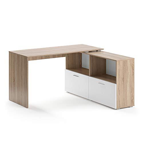 Vicco Eckschreibtisch Flexi Computer Bürotisch PC Schreibtisch Schublade Office (Sonoma Eiche/Weiß)