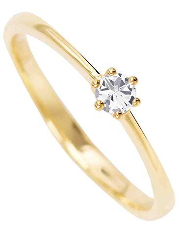 MyGold Verlobungsring Gelbgold (14 Karat) Gold 585 Mit Zirkonia Solitär Gr. 60 Heiratsantrag Damenring Goldring V0013880