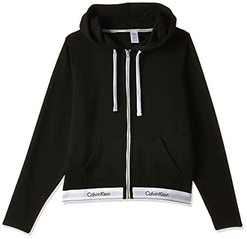 Calvin Klein Damen TOP Hoodie Full Zip Kapuzenpullover, Schwarz (Black 001), 36 EU (Herstellergröße: S)