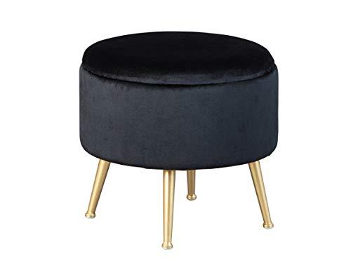 Inter Link Hocker Polsterhocker Pouf Design mit Stauraum und Metallgestell aus Samt in gold und schwarz