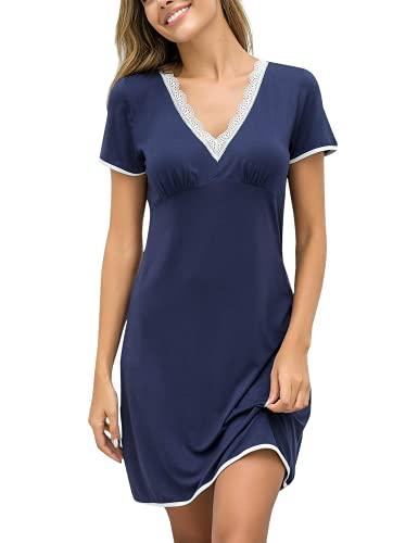 EKOUAER Damen Nachthemd Kleid Nachtwäsche Negligees Kurzarm Mit Spitzenbesatz, Typ2_Navyblay, L