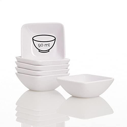Kerafactum Dipp Schalen Dipschale Tapasschalen Set 6 Dippschälchen Puddingform rechteckige Snackschale Schälchen Dessert Dip Schale Form Tapas Schüssel zum servieren Melamin Spülmaschinenfest