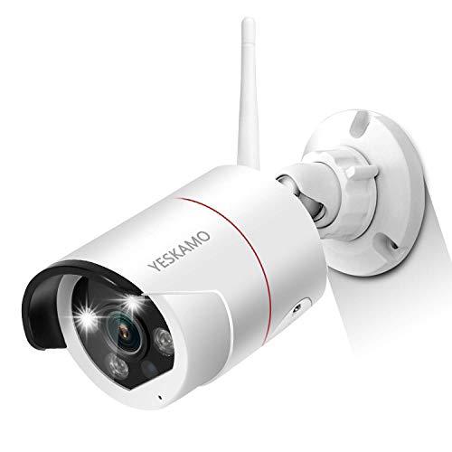 YESKAMO 3MP Überwachungskamera mit Flutlicht,2304*1296 HD WiFi IP Cameras Kabellos Kamera für Funk Überwachungssystem mit AI Bewegungserkennung,farbig Nachtsicht,Zweiweg Sprechen & Audio Aufnahme