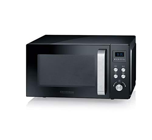 SEVERIN 3-in-1 Mikrowelle mit Grill und Heißluftfunktion bis zu 200 °C, Minibackofen inklusive Vorheizfunktion, Mikrowelle mit antihaft-beschichtetem Pizza-Teller, schwarz, MW 7752