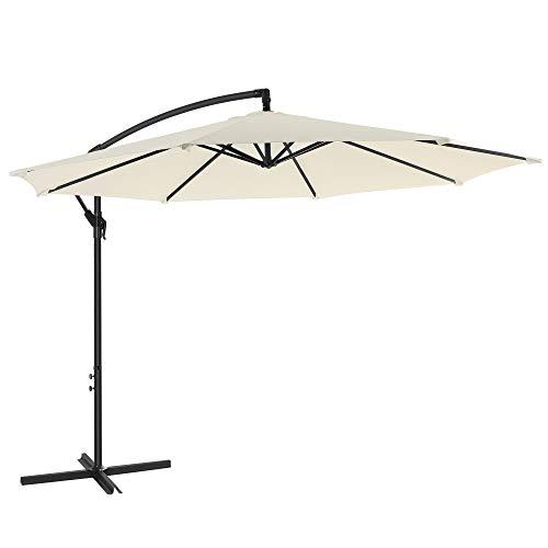 SONGMICS Sonnenschirm, Ampelschirm Ø 300 cm, mit Kurbel zum Öffnen und Schließen, Sonnenschutz, Gartenschirm, UV-Schutz bis UPF 50+, für Garten, Terrasse, beige GPU016M01
