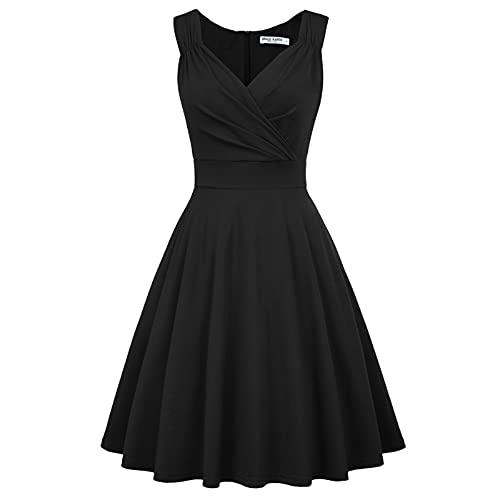 trägerkleid Knielang Retro Kleid a Linie Damen Festliche Kleider Weihnachten Swing Kleid CL698-1 XS