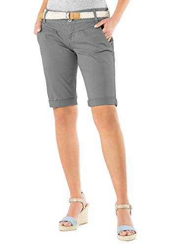 Fresh Made Damen Bermuda-Shorts in Pastellfarben mit Gürtel Light-Grey L