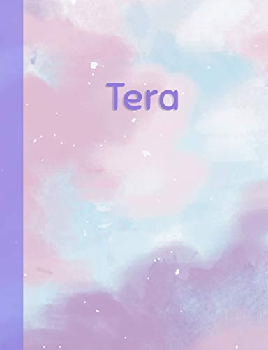 Tera: Personalized Composition Notebook – College Ruled (Lined) Exercise Book for School Notes, Assignments, Homework, Essay Writing. Purple Pink Blue Cover Art - Cloud Marble with Name