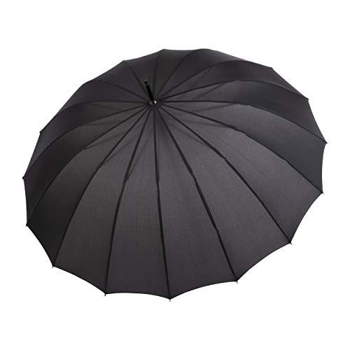 doppler Langschirm Liverpool Automatic – Großes Schirmdach – Ausgefallene, edle Optik – Black