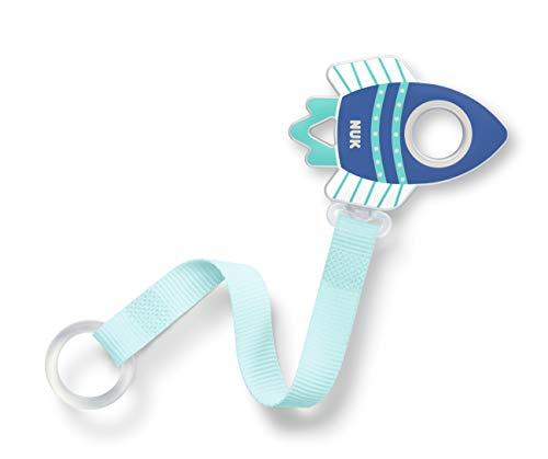 NUK NUK Schnullerband, für alle Schnuller mit und ohne Ring, 1 Stück, Rakete, blau