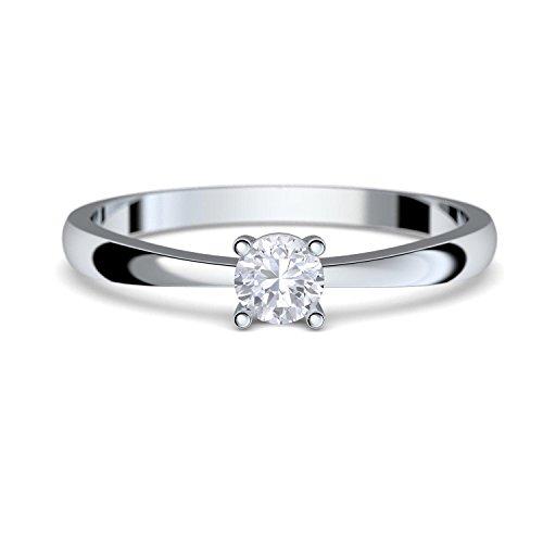 Amoonìc Verlobungsring Weissgold Damen 333 *GRATIS LUXUSETUI* mit Zirkonia Stein Weißgold-Ring wie Verlobungsring Diamant oder Brilliant Ring Diamantring Verlobung FF385WG333ZIFA58