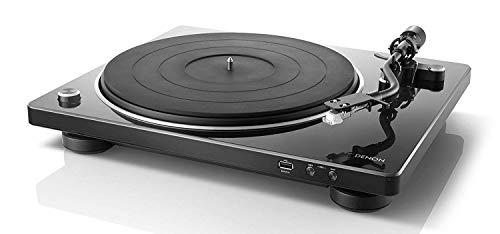 Denon DP450USBBKEM Plattenspieler (USB Aufnahme, Riemenantrieb, Tonarmlift, eingebauter Vorverstärker, S-Tonarm) Schwarz