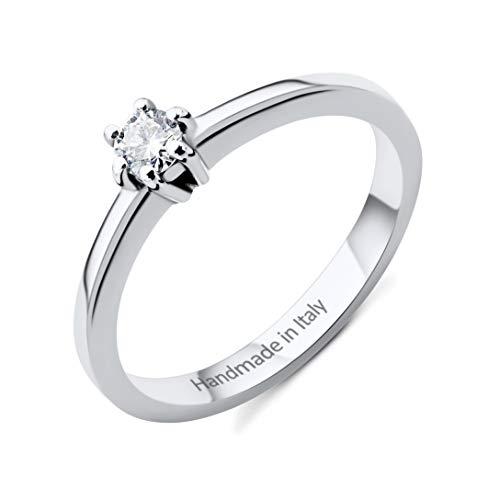 Miore Ring Damen Solitär Diamant Verlobungsring Weißgold 14 Karat / 585 Gold Diamant Brillant 0.13 Ct, Schmuck