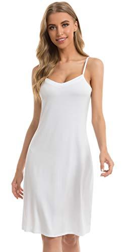 Vlazom Damen Unterkleid mit Trägern Unterröcke Sexy Negligee Full Slip Miederkleider Nachthemd Nachtwäsche(L,Stil A-Weiß)