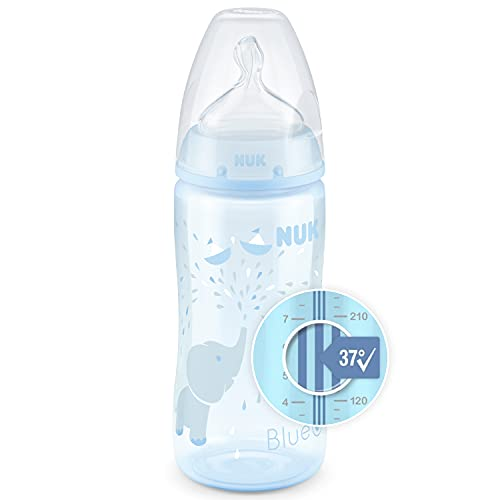 NUK First Choice+ Babyflasche | 0–6Monate | Temperature Control Anzeige | 300 ml Flasche mit Anti-KoliK-Ventil | BPA-frei | Trinksauger aus Silikon | blau