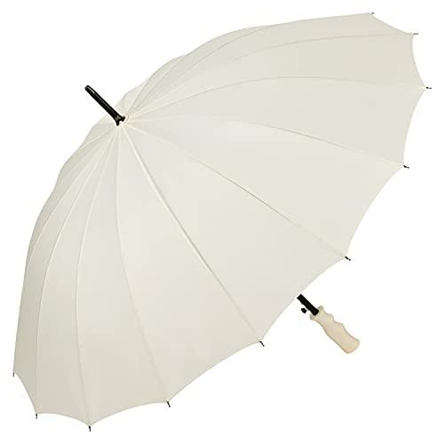 VON LILIENFELD® Regenschirm Durchmesser: 103 cm XL Auf-Automatik Hochzeitsschirm Sturmfest 2-Personen Colin Ecru