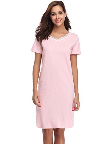 Hawiton Damen Nachthemd Kurz Baumwolle Spitze Nachtwäsche Nachtkleid Negligee Sleepshirt Kurzarm für Sommer Rosa S