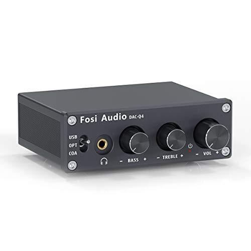 Fosi Audio Q4 Mini Stereo Gaming DAC   USB/Optisch/Koaxial zu RCA AUX 24 Bit/192 kHz, Digital zu Analog Audio Converter Decoder, für Heimkino /Fernseher Aktivlautsprecher