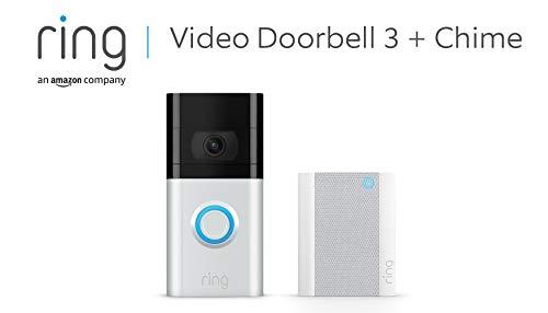 Ring Video Doorbell 3 + Ring Chime von Amazon | HD-Video (1080p), verbesserte Bewegungserfassung | Mit 30-tägigem Testzeitraum für Ring Protect