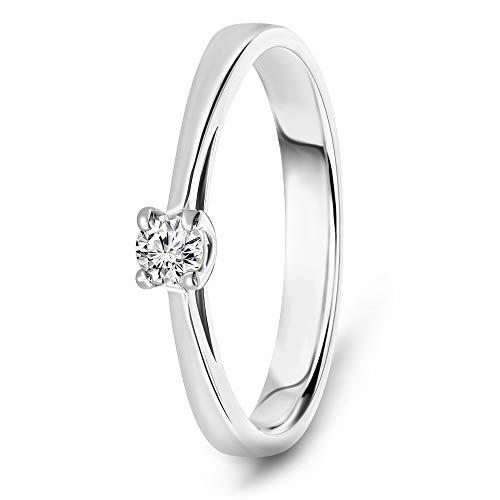 Miore Ring Damen 0.10 Ct Solitär Diamant Verlobungsring aus Weißgold 14 Karat / 585 Gold, Schmuck