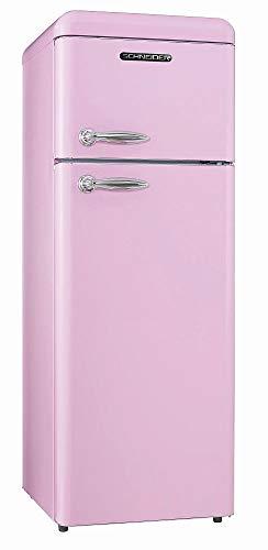 Schneider Retro Kühl-Gefrierkombination 206Liter A++ 55cm Breit SDD 208 Kühlschrank automatisches Abtauen (Pink glanz)
