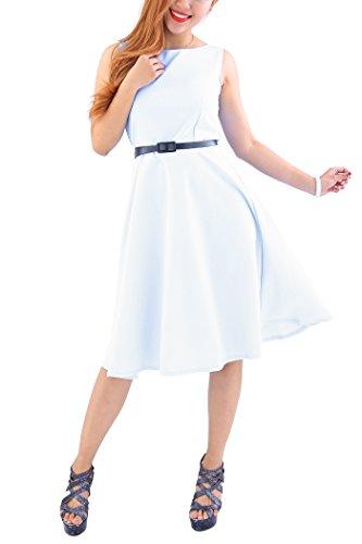 YMING Damen Rockabilly Kleid Retro Partykleid Einfärbig Elegantes Tee Kleid Weiß XL/DE 42-44