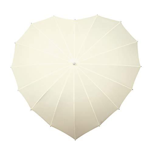 VON LILIENFELD Regenschirm Sonnenschirm Brautschirm Hochzeitsschirm Herz Creme