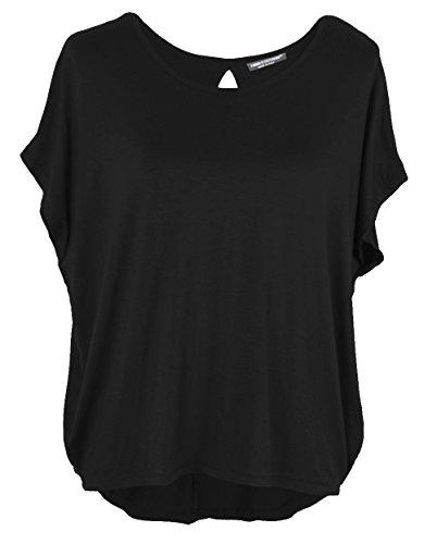 Emma & Giovanni Damen Basic Sommer T-Shirt/Oberteile Kurzarm, Schwarz, Gr.- DE 44-46 (Herstelleretikett XL)