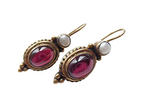 Granat-Ohrringe rot echte Süßwasser-Perle Hänger Haken verschließbar Silber vergoldet Handarbeit Unikat Italien Geschenk Frauen Retro elegant
