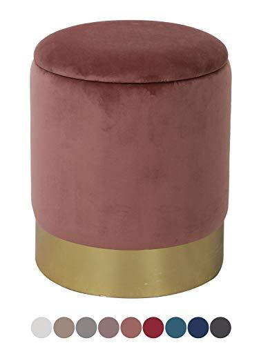 casamia Samthocker Sitzhocker Samt Pouf Sitzpouf Velour Hocker Hochwertig mit Stauraum u. Deckel Ø 31 H 38 cm Farbe Rose