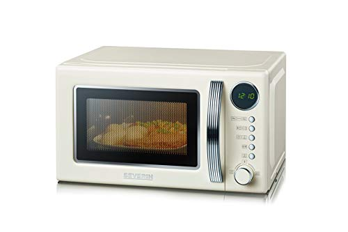 SEVERIN 2-in-1 Retro Mikrowelle mit Grillfunktion, Grillofen mit 5 Leistungsstufen und 8 Automatikprogrammen, hochwertige Mikrowelle mit Grill, ca. 700 W, creme / chrom, MW 7892