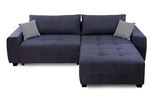 Collection AB Bellezza Polsterecke mit Bettfunktion und Bettkasten Ecksofa, Stoff, Anthrazit, 162 x 242 x 87 cm