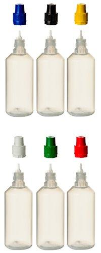 6 er Set PP-Flaschen je 100ml mit bunten Verschlüssen und Füll-Trichter - Quetschflasche Leerflasche Kunststofflasche Plastikflasche Spritzflasche quetschbar zum befüllen und mischen auch Liquide