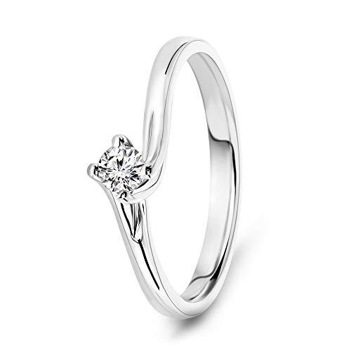 Miore Ring Damen 0.12 Ct Solitär Diamant Verlobungsring aus Weißgold 18 Karat / 750 Gold, Schmuck