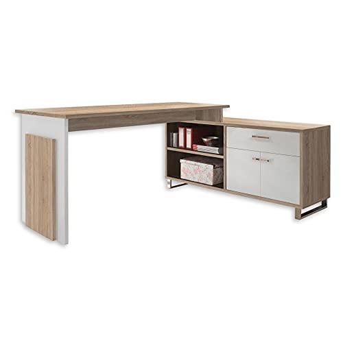 MANAGER Eckschreibtisch in Eiche Sonoma Optik, Weiß - Moderner Bürotisch Computertisch mit großer Arbeitsfläche und Sideboard - 140 x 76 x 65 cm (B/H/T)