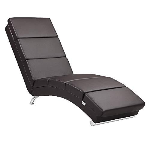 Casaria Relaxliege Liegesessel London Wohnzimmer Kunstleder Braun Ergonomisch 186x55cm Modern Relaxsessel Liegestuhl