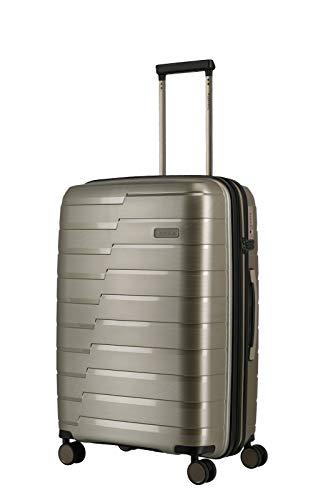 travelite 4-Rad Koffer M mit Dehnfalte + TSA Schloss, Gepäck Serie AIR BASE: Funktionaler Hartschalen Trolley im coolen Look, 075348-40, 67 cm, 71 Liter (erweiterbar auf 82 Liter), champagner (beige)
