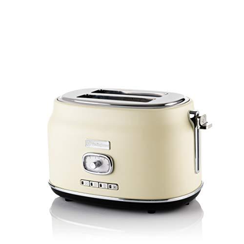 Westinghouse Retro Toaster 2 Scheiben Klein - 2Er Doppelschlitz Toaster Mit Brötchenaufsatz, Krümelschale & Weiteren Funktionen, Knuspriger Toast Auf Knopfdruck Weiß