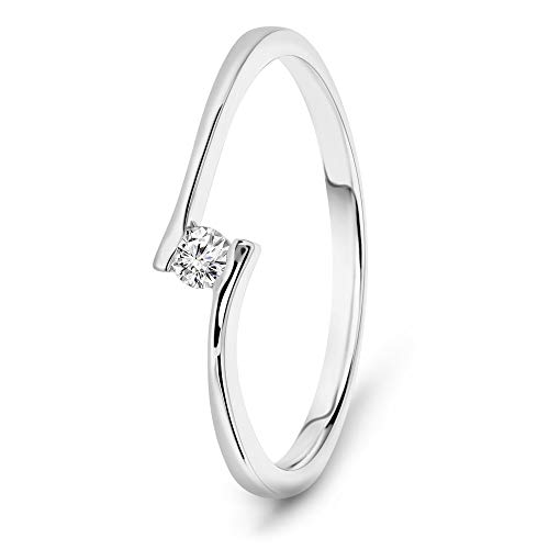 Miore Ring Damen 0.05 Ct Solitär Diamant Verlobungsring aus Weißgold 14 Karat / 585 Gold, Schmuck