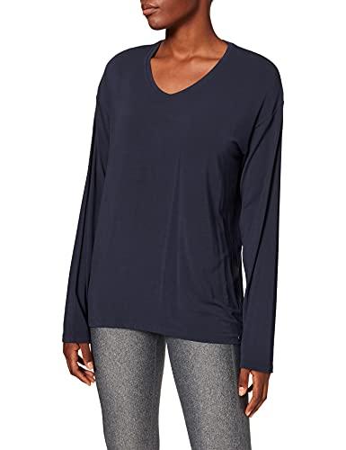 Schiesser Damen Mix & Relax Shirt 1/1 Arm Schlafanzugoberteil, Blau (Nachtblau 804), 48