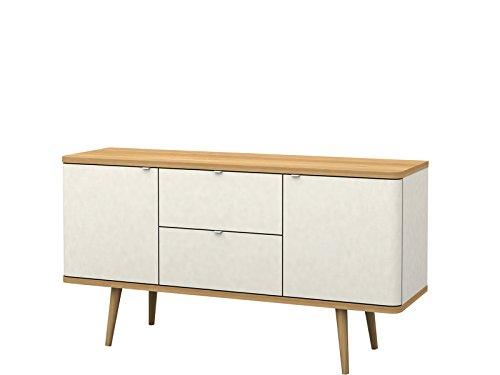 Loft24 Designer Sideboard weiß Kommode Schrank Wohnzimmer Skandinavisches Design Modern Holzbeine eichefarben 140 x 41,5 x 75 cm