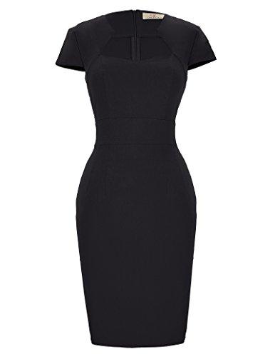 GRACE KARIN Rockabilly schwarz Kleid 50s Kleid Damen festkleid Vintage Business Kleid midi Pencil Kleid CL8947-1 M
