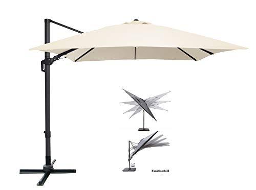 Pure Home & Garden Ampelschirm Roma 300x300 cm in Natur inklusive Ständer, sowohl axial als auch am Mast verstellbar, UV-Schutz 50 Plus