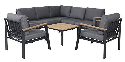 Pure Home & Garden Teak Aluminium Eck-Lounge Houston, inklusive 2 XL Sessel und wasserabweisender Kissen